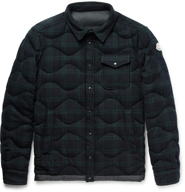 ... Moncler Nambour Black Watch Checked Wool Down Shirt Jacket ...