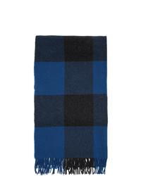 Rag and Bone Blue Wool Buffalo Plaid Scarf