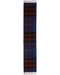 Burberry Half Mega Check Cashmere Scarf Bright Navy Blue