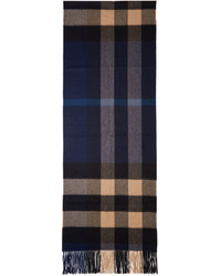 Burberry Indigo Beige Cashmere Check Scarf