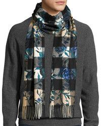 Burberry Large Peony Flower Mega Check Cashmere Scarf Ink