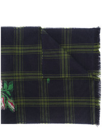 Gucci Rose Patch Checked Scarf
