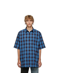 Acne Studios Blue And Red Check Flannel Shirt