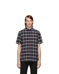 Burberry Navy Check Short Sleeve Shirt