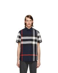 Burberry Navy Check Slim Short Sleeve Shirt