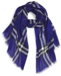 Burberry Giant Check Print Wool Silk Scarf