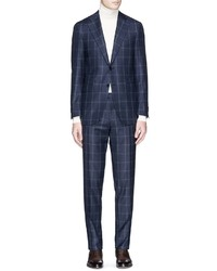 Canali Capri Windowpane Check Wool Suit