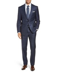 BOSS Harversglover Trim Fit Windowpane Suit