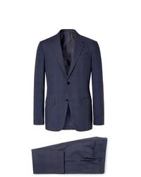 Ermenegildo Zegna Navy Slim Fit Checked Wool And Silk Blend Suit