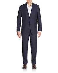 Saks Fifth Avenue Regular Fit Windowpane Wool Two Button Suit