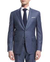 Isaia Super 160s Box Check Two Piece Suit Light Blue