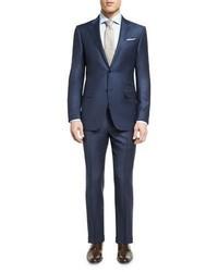 Tonal check two piece suit blue medium 1161101