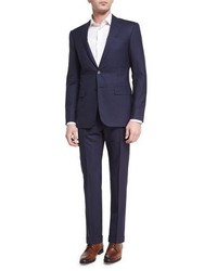 Tonal windowpane two piece suit navy medium 3678732
