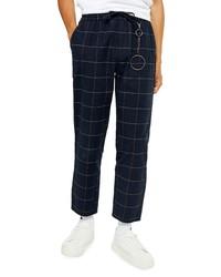 Topman Stitch Check Skinny Fit Drawstring Pants