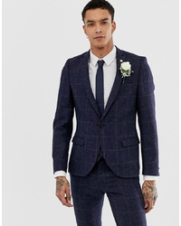 Twisted Tailor England Super Skinny Suit Jacket In Navy Tweed Check