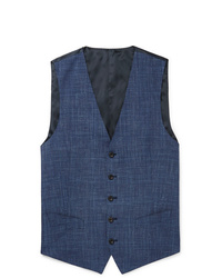 Thom Sweeney Blue Checked Wool Silk And Linen Blend Waistcoat