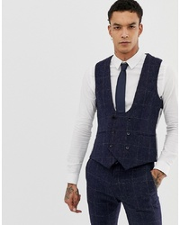 Twisted Tailor England Super Skinny Waistcoat In Navy Tweed Check