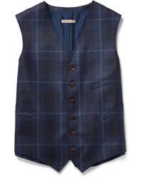 Boglioli Navy Dover Checked Wool Waistcoat