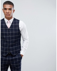 ASOS DESIGN Super Skinny Suit Waistcoat In Large Scale Navy Windowpane Check