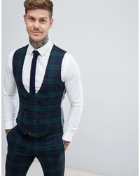 Twisted Tailor Super Skinny Waistcoat In Green Check