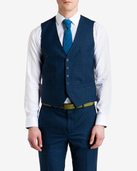 Ted Baker Teleafw Checked Wool Suit Vest