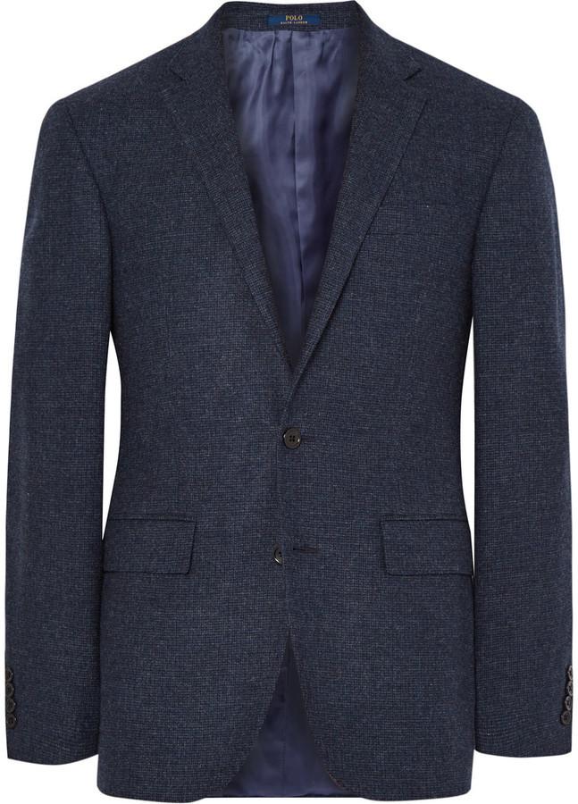 b95aabe8865f ... Polo Ralph Lauren Blue Slim Fit Micro Checked Virgin Wool Blazer ...