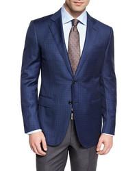 Ermenegildo Zegna Check Wool Two Button Sport Coat Blue