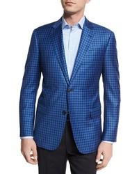 Armani Collezioni Check Wool Two Button Sport Coat Bright Blue