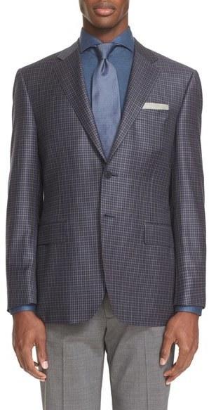 8e93e1149d7 ... Canali Classic Fit Check Wool Sport Coat ...