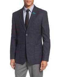 Ted Baker London Tightlines Trim Fit Windowpane Wool Cotton Sport Coat