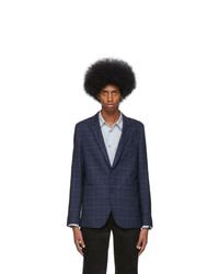Ps By Paul Smith Navy Check Unlined Blazer