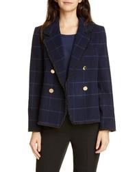 Helene Berman Fringe Detail Double Breasted Wool Blend Jacket