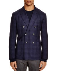 Hardy Amies Link Check Double Breasted Slim Fit Sport Coat