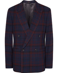 Paul Smith Blue Slim Fit Double Breasted Checked Wool Blazer