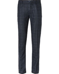 Navy Check Wool Dress Pants