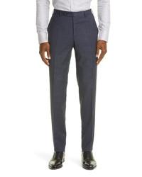 Canali Trim Fit Check Stretch Wool Dress Pants