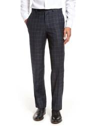 Berle Windowpane Wool Trousers