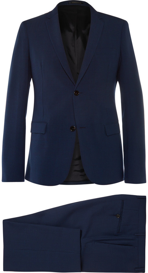 ... Jil Sander Jil Sander Navy Slim-Cut Wool-Blend Seersucker Suit