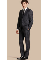 Burberry Modern Fit Check Wool Part Canvas Suit
