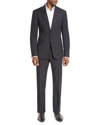 Ralph Lauren Textured Wool Windowpane Check Two Piece Suit Navy