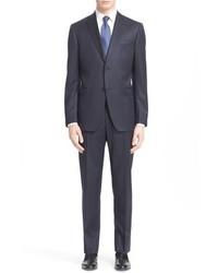 Trim fit check wool suit medium 792323