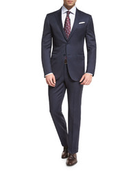 Wool tonal check two piece suit navy medium 594616