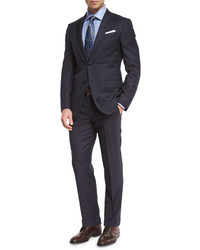 Wool tonal check two piece suit navy medium 615053
