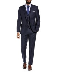 BOSS Hugegenius Trim Fit Windowpane Wool Three Piece Suit