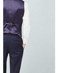 Mango Outlet Check Wool Blend Suit Waistcoat