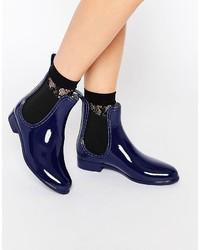 Glamorous Blue Chelsea Wellington Boots