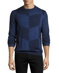Navy Chevron Crew-neck Sweater