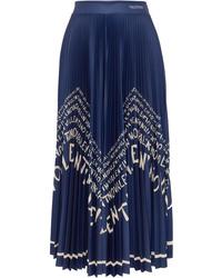 Valentino Printed Pleated Satin Midi Skirt