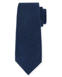 Kiton Chevron Wool Silk Tie Blue