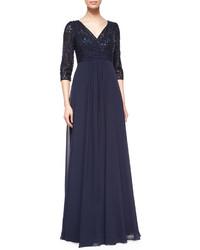 34 sleeve lace chiffon empire gown medium 525827